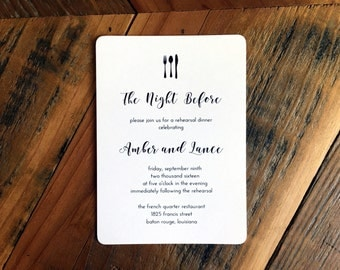 Knife Fork Spoon Dinner Invitation, Modern Calligraphy Style font, Rehearsal Dinner Invitation, Simple calligraphy,
