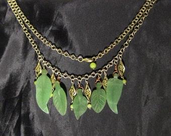 Antique/Vintage Jade Art Nouveau Leaf Necklace