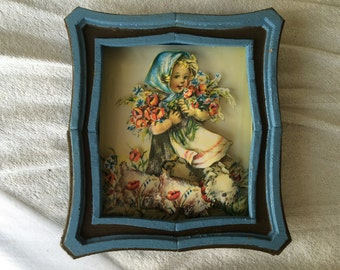 3-D Pop-Up Picture in Shadowbox Frame - Young Girl Holding Flowers With Puppy - 8 x 7 inch - hand made, vintage item