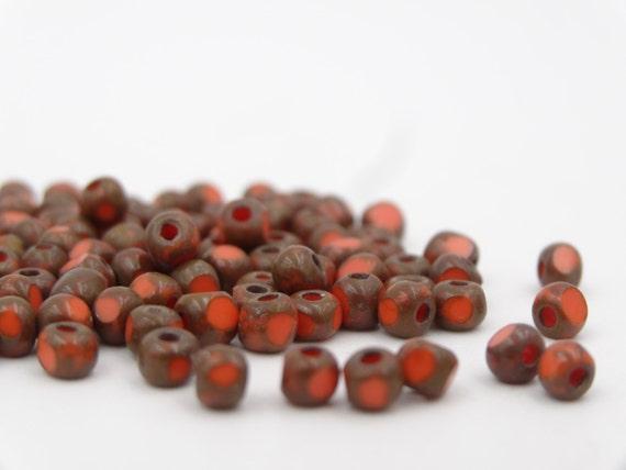 7/0 3 Cut Coral Picasso Cut Fire Polish Seed Bead 10 Gram ...