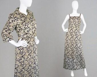 Vintage 60s FREDERICK STARKE Gold Evening Gown Gold & Silver Dress Matching Jacket Crop Long Cocktail Dress Brocade Sheath Dress Harrods