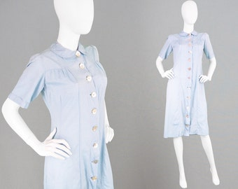 Vintage 40s Dress Pale Blue Dress House Dress Peter Pan Collar Day Dress Mother of Pearl Shell Buttons Pastel Blue Slub Fabric Light Blue