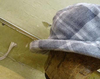 Hand-sewn hat from checked fabric
