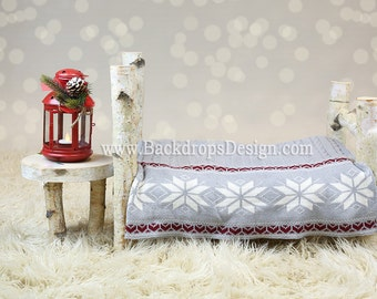 Birch Log bed Newborn photography prop Cristmas log bed !   hand made white  bed