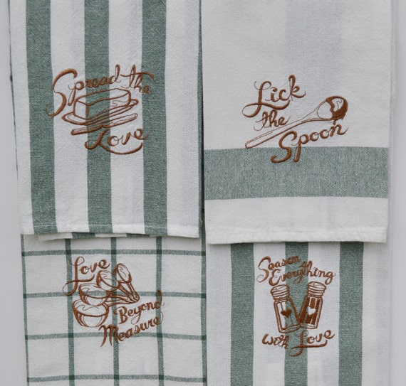 White Embroidered Kitchen Towels Kitchen Towel Set Embroidered