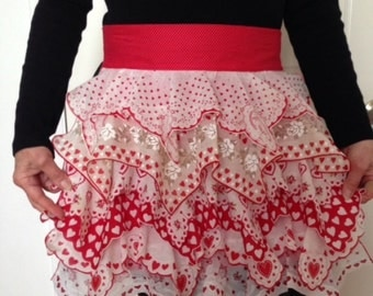 SALE -- Vintage Hanky Apron, Valentine, Sweetheart, Red and White, Flowers, Kitchen Lingerie, Bachelorette Gift