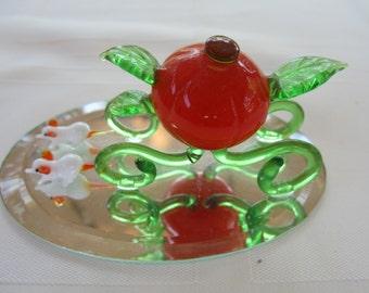 Vintage Blown Glass Pumpkin with Mice on Mirror