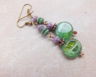 Boho Earrings- Bohemian Earrings - Green Picaso Earring-Bohemian -Spring fashion- Spring earrings- Colorful Earrings - Beads Earrings