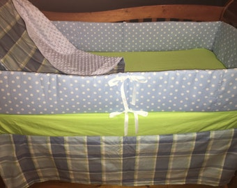 CLEARANCE***Sweetpea blue plaid crib bedding set Ready to ship!!!