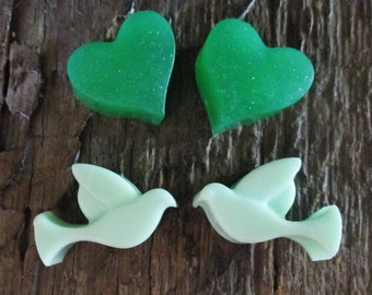 Tiny Doves and Hearts Shea Butter and Glycerin Soap Favor Wedding, Bridal Shower