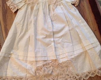 Vintage Heirloom Baby Dress size 2, Tea Dyed Muslin, Beautiful Battenburg Lace Trim.