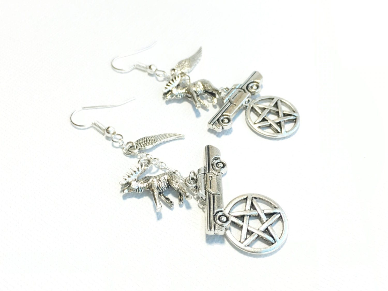 Silver Star Car Moose And Wing Earrings