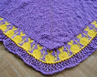 Cats and lace shawlette knitting pattern - Knit wrap pattern - Shawl knitting tutorial - Instant download PDF knitting tutorial