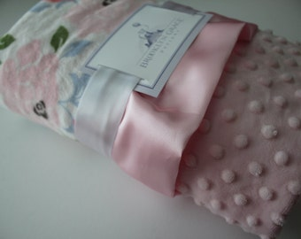 Romance Rose Garden White, Pink, Coral, Green, Blue Minky Blanket with Baby Pink Minky Dot and Satin Trim - Baby Bedding, Baby girl, Nursery