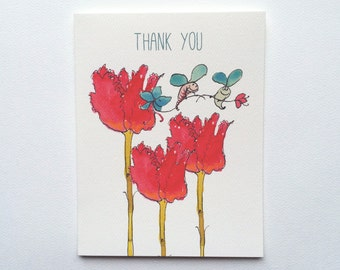 Floral Tulips and Bees Thank You Note Cards