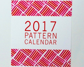 2017 Illustrated Pattern 12 Month Wall  Calendar