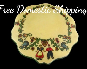 Vintage Trivet, Pennsylvania Dutch Trivet, Wooden Trivet, Hand Painted Folk Art, Kitchen Table Decor, Housewarming Gift, Free US Shipping