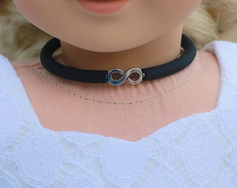 Doll Accessories | INFINITY Charm CHOKER NECKLACE in Black or Frosted White for dolls such as American Girl Doll