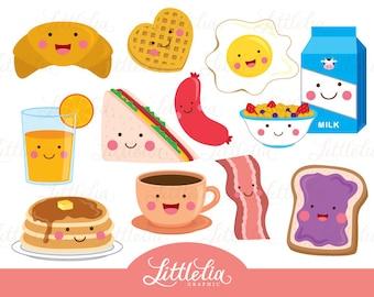 Breakfast cute clipart - kawaii clipart - 15095