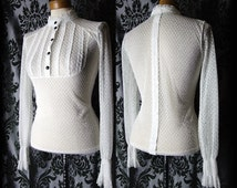 Gothic White Lace Bib Detail STRICT GOVERNESS High Neck Blouse 6 8 Victorian