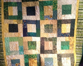 Child's Quilt, Lap Quilt, Green and Yellow Boxes, 40.5 x 48.5, Green and Yellow Fans, Bright Baby Quilt