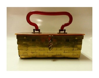 Vintage 50s Lucite and Brass Box Purse- 1950s box purse