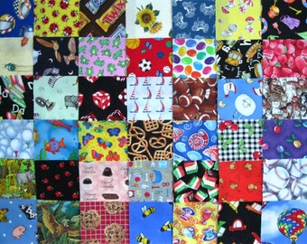 """40 I SPY Childrens Novelty All Diff 4"""" Fabric Quilt Squares Charm precuts Kids"""