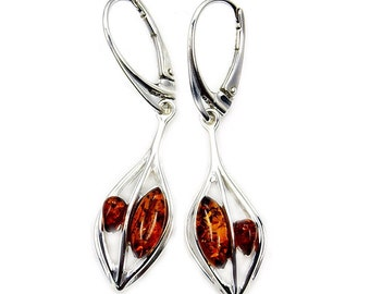 Autumn Queen' Natural Baltic Amber & .925 Sterling Silver Dangle Earrings , Y72