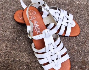 Vintage 80s Sandals, White Leather Sandals, Leather Craft Leather Sandals