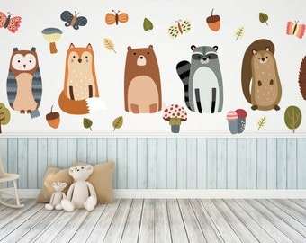 Woodland Nursery, Woodland Nursery Decals, Animal Wall Decals, Nursery Wall Decals, Woodland Animal Wall Art