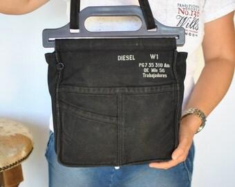 Vintage DIESEL BLACK CANVAS tote bag .....(460)