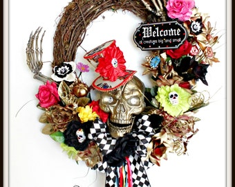 Day of the Dead Wreath, Sugar Skull Wreath, Day of Dead, Skeleton Wreath, Skull Wreath, Scary Wreath, Walking Dead Wreath, Haunted wreath,