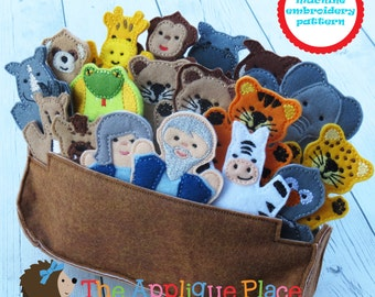 Finger Puppets Embroidery Design - Noah's Ark, Noah, wife, animals - ITH Machine Embroidery - Digital Pattern - In the Hoop Finger Puppet
