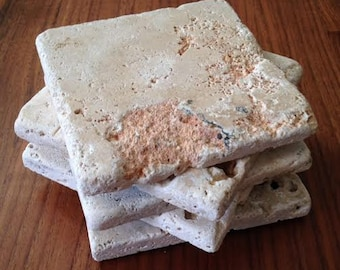 Natural Travertine Stone Coasters - Set of 4