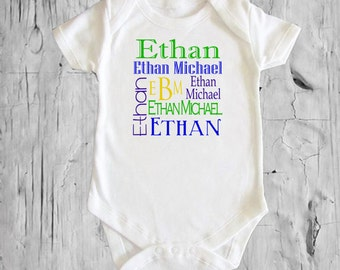 Baby's Name Collage Personalized White onsie Snap bottom all in one bodysuit