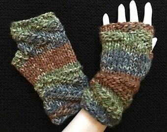 Knit Fingerless Gloves, Hand Warmers, Fingerless Mitts - Twisted-Cuff Bulky in Tan, Lt Blue & Lt Green