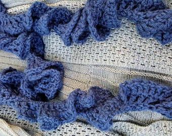 Navy Frilly Scarf