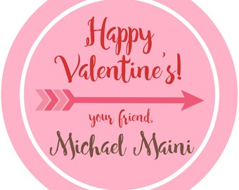 """Happy Valentines Labels, School Valentine's Personalized Sticker Labels Size 2.25"""" Hearts Labels"""