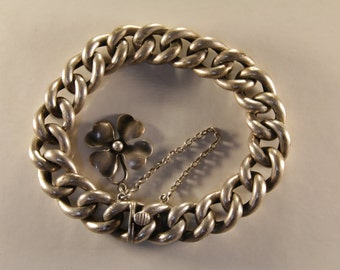Victorian 800 silver chunky curb link chain bracelet / bracelet /  curb link / thick curb chain / curb chain / Victorian curb link bracelet