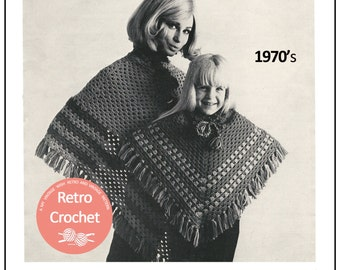 Mother and Daughter Poncho Crochet Pattern – PDF Crochet Pattern - Instant Download