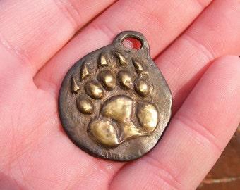 Bear Paw Bronze Pendant Handmade by the Green Man