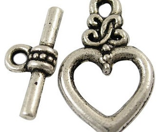 4 Antiqued Silver Heart Toggle Clasp Sets
