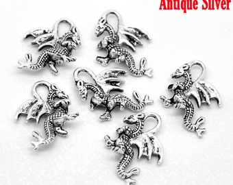 4 Antiqued Silver Dragon Charms