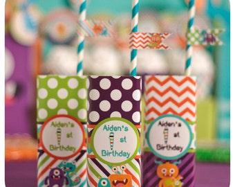 Little Monsters; Little Monsters Party; Monster Birthday Party; Little Monsters Birthday Party; Little Monsters Juice Box Wrappers