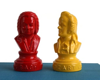 Small Composer Head Busts Bach Mozart - Classical Music - Composer Figures - Pop Art - Retro - Teacher Gift - Instruments - Christmas Gift