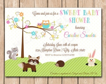 Sweet Baby Shower Invitation | Happi Owl, Forest Tree - 1.00 each printed or 10.00 DIY file