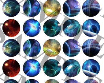 SCI-FI Galaxy Digital Collage Sheet/Stickers 1.5 inch Circle Instant Download Print for Adult/Kids Party