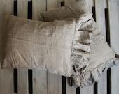 Linen pillow shams RUFFLE in Natural Gray Standard Queen size  Linen bedding, Handmade Bio-washed organic pillowcase SACRAMENTO coll. Len.Ok