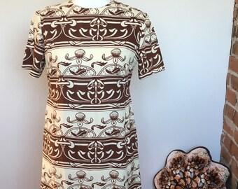 Vintage amazing brown / white shift dress
