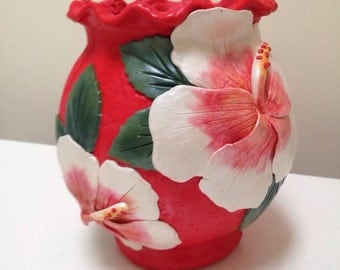 Hibiscus Polymer Clay Vase, Handmade Vase, Flower Vase, Hibiscus Vase, Red Vase, Glass Art, Polymer Clay Art, OOAK, Handmade Gift